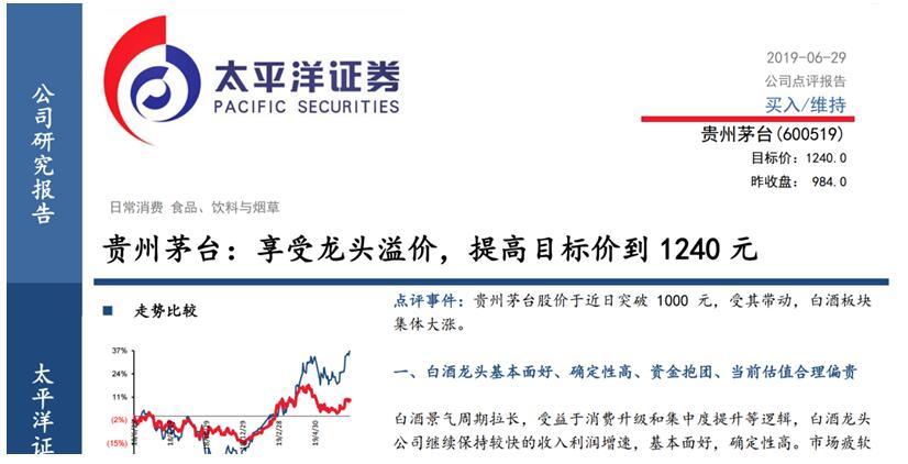 (太平洋证券将茅台目标价提高至1240元)